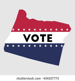 Vote Oregon state map outline. Patriotic design element to encourage voting in presidential election 2016. vote Oregon vector illustration.