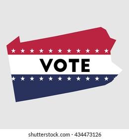 Vote Pennsylvania state map outline. Patriotic design element to encourage voting in presidential election 2016. vote Pennsylvania vector illustration.