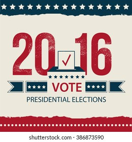 Vote - Presidential Election card Design. 2016 USA poster. EPS 10