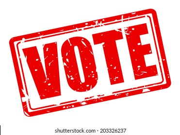 Vote red stamp text on white
