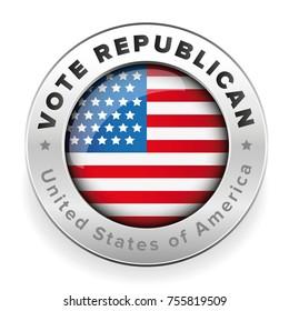 Vote Republican badge Usa flag