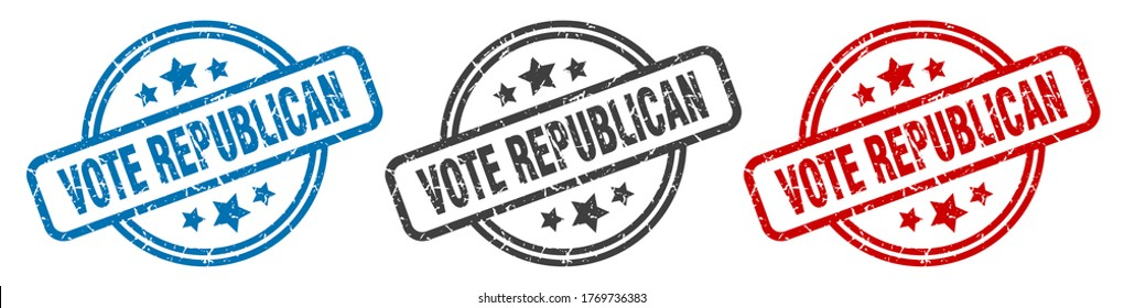 vote republican stamp. vote republican round isolated sign. vote republican label set