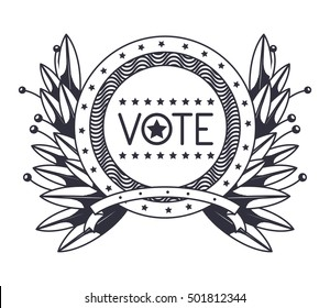 Vote seal stamp with wreath design