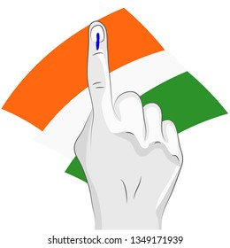 vote sign india flag hand