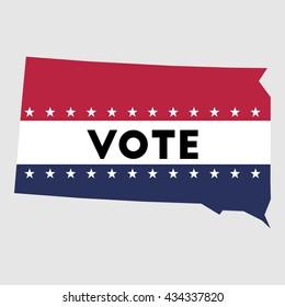 Vote South Dakota state map outline. Patriotic design element to encourage voting in presidential election 2016. vote South Dakota vector illustration.