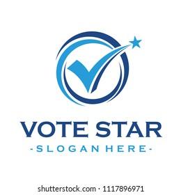 Vote Star and Check mark Logo design Inspiration