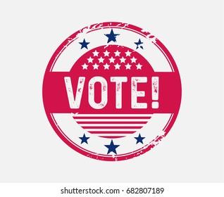 Vote Sticker Badge Blue Red Stars Stripes