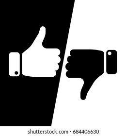 Vote thumbs up icon in black and white inverse fields. Make a choice, yes or no, love it or hate it, like or dislike win or loss. Vector illustration.
