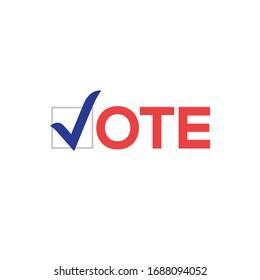 Vote vector icon election sign. Vote check logo campaign symbol design