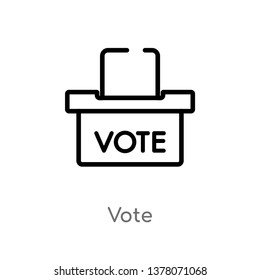vote vector line icon. Simple element illustration. vote outline icon from political concept. Can be used for web and mobile