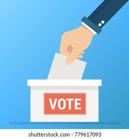 vote vector, Voting concept in flat style - hand putting paper in the ballot box