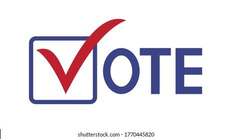 Vote word with checkmark symbols, Check mark icon, Political template elections campaign logo concept, Badge flat design vector illustration