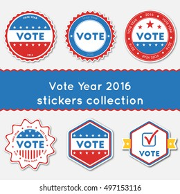 Vote Year 2016 stickers collection. Buttons set for USA presidential elections 2016. Collection of blue and red patriotic badges. Round tokens vector illustration.