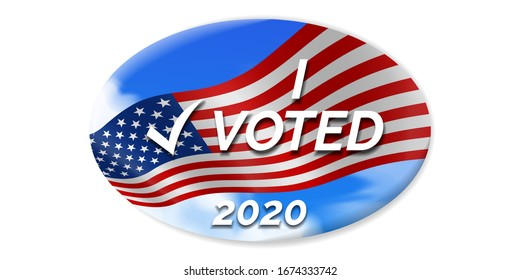 i voted 2020 USA presidential election oval sticker design with american flag on sky background
