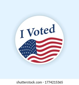 I voted sticker with flattering us american flag. Circle vote sticker or label. US, USA, american election, voting sign. I voted quote. Responsible voting badge or pin. vector illustration