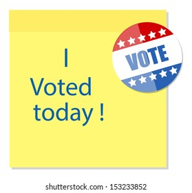 i voted today - written on sticky note with a glossy badge vector