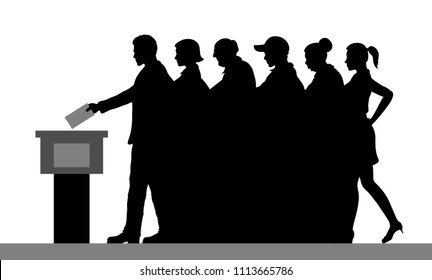 voters crowd silhouette by voting for election. All the silhouette objects, and background are in different layers.