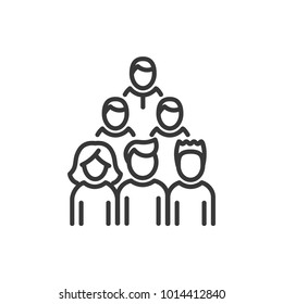 Voters - line design single isolated icon on white background. High quality black pictogram. An image of a group of people standing in three lines. Election, audience concept