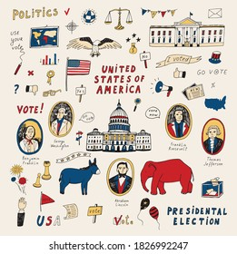 Voting american presidental election, united staters of america hand drawn doodle illustrations vector set.