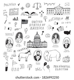 Voting american presidental election, united staters of america hand drawn doodle line illustrations vector set.