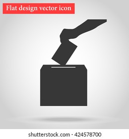 Voting, arm casts into the ballot box in elections to the government document with your choice. icon vector illustration flat design