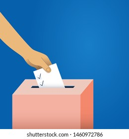 Voting Background - Vector background of voter placing their ballot in the ballot box, with copyspace.