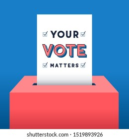 Voting Background - Vector background of voter ballot going into a ballot box. The ballot has the message: Your Vote Matters