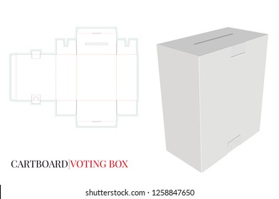 Voting Box, Illustration Massage Box, Mail Box. Vector with die cut / laser cut layers. White, clear, blank, isolated Voting Box mock up on white background with perspective view. Packaging Design, 3D