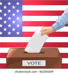 Voting concept in cartoon style - hand putting paper in the ballot box. Be responsible! USA election day. Vector illustration