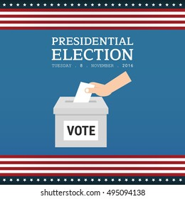 Voting concept in flat style. USA presidential election day concept vector illustration. Hand putting voting paper in the ballot box.