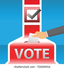 Voting concept. Hand putting paper in the ballot box. vector illustration.