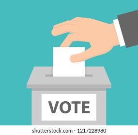 Voting concept. Hand putting white paper into the ballot box