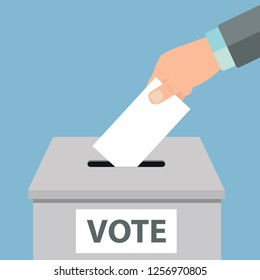 Voting concept. Hand putting white paper into the ballot box Vector illustration