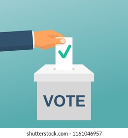 Voting concept. Vector illustration flat design style. Man hold in hand bulletin, puts in ballot box isolated. Casting election vote. Politics poll, choice. Makes choice. Сheck mark on questionnaire.