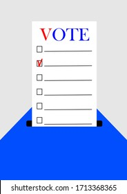 Voting in an election campaign of the president or senate and parliament. Elections in the USA. Elections in Europe. Policy. Template for Texia. Poster. Outdoor advertising. Election ballot.