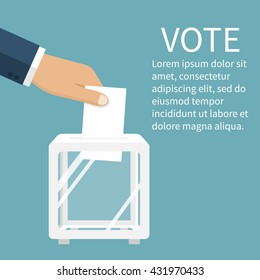 Voting, election concept. Vector illustration flat design style. Man holds in his hand bulletin, puts in ballot box. Casting vote. Politics poll, choice. Voter makes choice