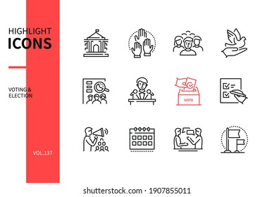 Voting and election - modern line design style icons set. Politics and electioneering concept. Government building, voters, dove, vote counting, candidate, ballot box, paper, campaign, debate, flag