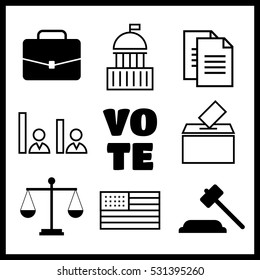 Voting and elections linear icons. Government political icons
