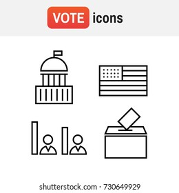 Voting and elections linear icons. Political icons set