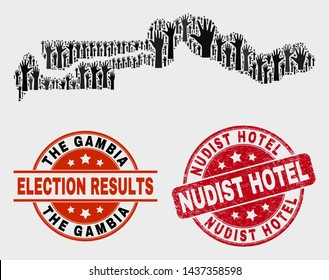 Voting the Gambia map and seal stamps. Red rounded Nudist Hotel grunge seal stamp. Black the Gambia map mosaic of raised selection hands. Vector composition for ballot results,