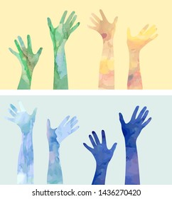 Voting hand silhouettes in watercolor style