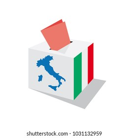 Voting in Italy; Italian political elections. Urn and ballot paper. Box with Italian flag and map