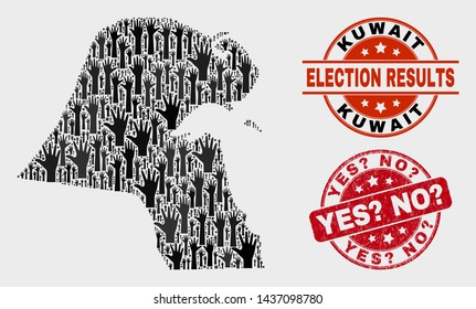 Voting Kuwait map and seal stamps. Red round Yes? No? grunge watermark. Black Kuwait map mosaic of raised up voting hands. Vector collage for referendum results, with Yes? No? seal.