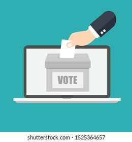 Voting online concept. Hand putting or inserting voting paper in the ballot box on a laptop screen. Flat design