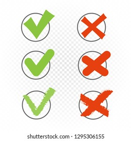 Voting round checkbox sign symbol set template. Green checkmark tick pictogram. Accept agree approved correct good confirm or not wrong incorrect choice vector illustration icon