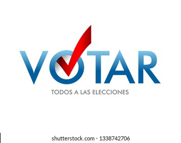 Voting Symbols vector design. The word vote is written in Spanish. layout Elections icons. check marks. Vote, poll sign.