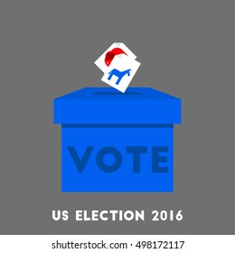 Voting for US election 2016 design cartoon and flat illustration with election ballot boxes