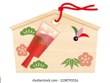 Votive picture tablet with a battledore drawing for Japanese New Year's visit to a shrine, vector illustration.