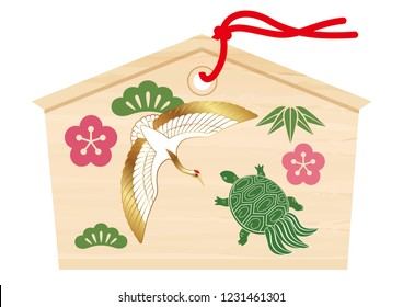 Votive picture tablet with a crane and turtle drawing for Japanese New Year's visit to a shrine, vector illustration.