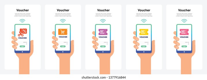 Voucher Concept in Modern Colour Transitions. Can Use Immediately for Promotions, Website, Commercial And Others. Vector.
